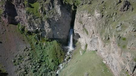 ágil : Elbrus from the north. The Sultan waterfall on the Kyzyl-Su river. Aerial view. Kabardino-Balkaria, Russia, From Dron, Point of interest