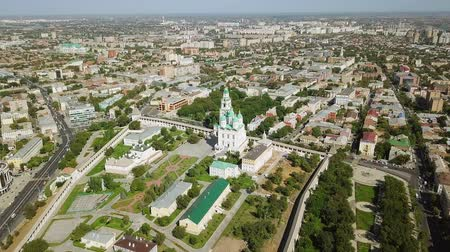 astrakhan : Russia, Astrakhan - September 12, 2017: Aerial view of the Astrakhan Kremlin, historical and architectural complex, From Dron Stock Footage