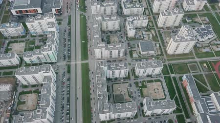 ekaterinburg : Urban development. Residential area Academic. Russia. Ekaterinburg. Shooting from the air by a flying camera. HEAD OVER SHOT, From Dron