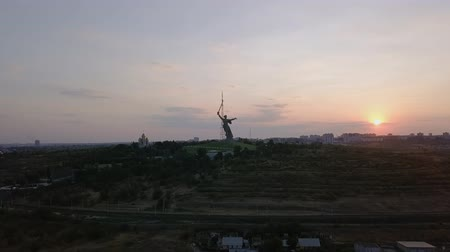 kard : In the light of the setting sun. Sculpture The Motherland Calls! - the compositional center of the monument-the ensemble to the Heroes of the Battle of Stalingrad on the Mamayev Kurgan! Volgograd, Russia, From Dron