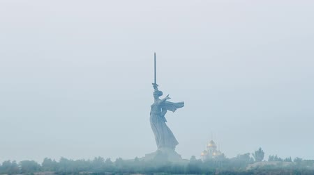 mamaev : Early morning, Sculpture The Motherland Calls! - compositional center of the monument-ensemble to the Heroes of the Battle of Stalingrad on Mamayev Kurgan. Russia, Volgograd