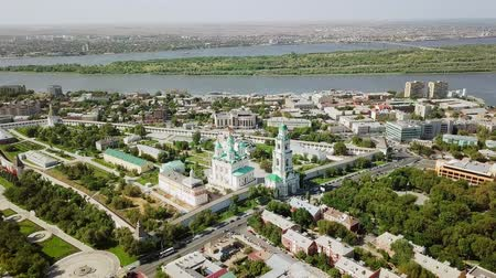 astrakhan : Aerial view of the Astrakhan Kremlin, historical and architectural complex. Russia, Astrakhan, From Dron, Departure of the camera