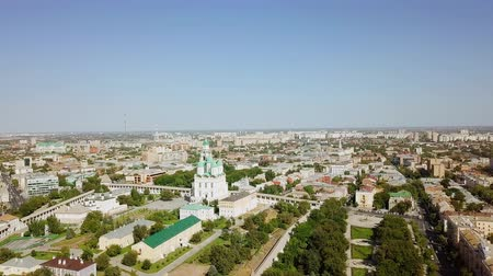 astrakhan : Russia, Astrakhan - September 12, 2017: Aerial view of the Astrakhan Kremlin, historical and architectural complex, From Drone Stock Footage