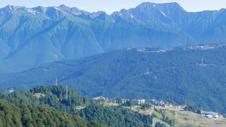 krasnodar city : Rosa Khutor Village. View from above. Russia, Sochi Stock Footage