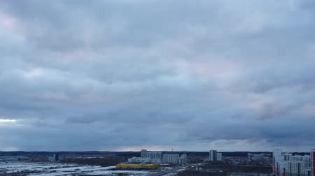 ekaterinburg : Evening clouds over the suburbs of Yekaterinburg, Russia. SunSet. Time Lapse