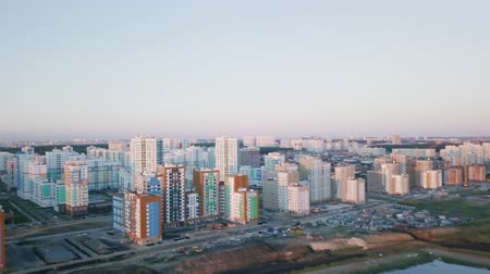 ekaterinburg : Panorama Urban development at sunset. Residential area Academic. Russia. Ekaterinburg. Shooting from the air by a flying camera., From Dron