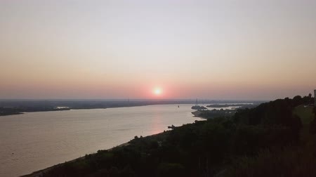 farag : Ascent to the panorama of the Volga during sunrise. Nizhny Novgorod. Russia, From Dron, Unveiling shot