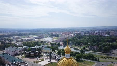 point of interest : Cathedral of St righteous warrior Feodor Ushakov. Saransk, Russia. Beautiful panoramic view of the city, From Dron, Point of interest