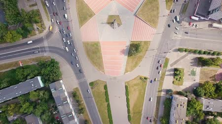 façanha : Monument of the military and labor of the Penza people during the Great Patriotic War (Victory Monument). Penza, Russia, From Dron, HEAD OVER SHOT Vídeos