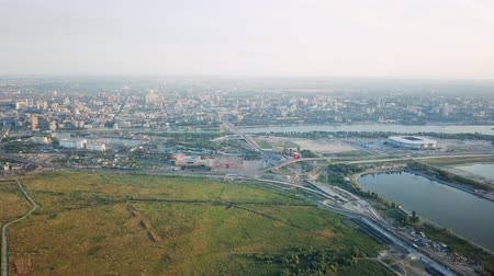 Vista panorámica de la parte central de Rostov-on-Don. Estadio, el río Don. Rusia, Rostov-on-Don, De Dron, Salida de la cámara