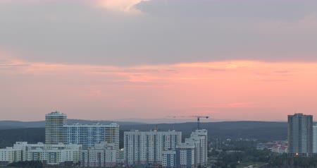 ekaterinburg : Red sunset. In the windows of the light. Ekaterinburg, Russia Time Lapse