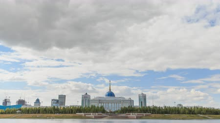 astana : Akorda Palace of Independence. View from the river. Astana, Kazakhstan. HDR Time Lapse