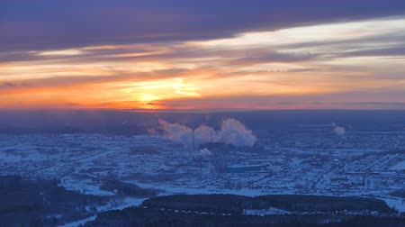 ekaterinburg : Sunset over the industrial city. The smoke from the chimneys. Revda, Ekaterinburg, Russia. Time Lapse