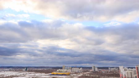 ural : Evening clouds over the suburbs of Yekaterinburg, Russia. Time Lapse