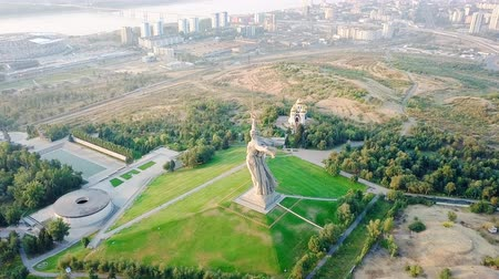 kard : Sculpture The Motherland Calls! - compositional center of the monument-ensemble to the Heroes of the Battle of Stalingrad on Mamayev Kurgan. Early morning. Volgograd, Russia, From Dron, Departure of the camera