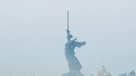 kard : Early morning, Sculpture The Motherland Calls! - compositional center of the monument-ensemble to the Heroes of the Battle of Stalingrad on Mamayev Kurgan. Russia, Volgograd