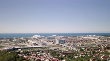 fisht : General view of Sochi Park in the Adler from a birds-eye view. Sochi, Russia, From Dron Stock Footage