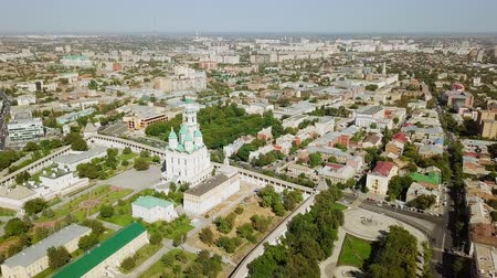astrakhan : Russia, Astrakhan - September 12, 2017: Aerial view of the Astrakhan Kremlin, historical and architectural complex, From Dron, Departure of the camera