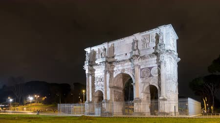 costantino : Arch of Constantine. Night. Rome. Italy. Time Lapse
