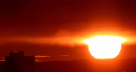 ural : Sunrise closeup. Real Time. Ekaterinburg, Russia Stock Footage