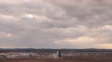 ekaterinburg : Evening clouds over the suburbs of Yekaterinburg, Russia. Time Lapse