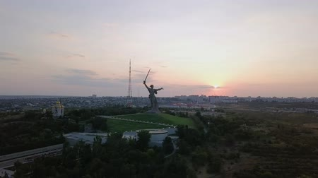 kard : In the light of the setting sun. Sculpture The Motherland Calls! - the compositional center of the monument-the ensemble to the Heroes of the Battle of Stalingrad on the Mamayev Kurgan! Volgograd, Russia, From Dron, Point of interest