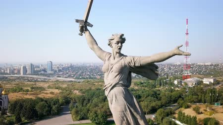 mamaev : Sculpture The Motherland Calls! - compositional center of the monument-ensemble to the Heroes of the Battle of Stalingrad on Mamayev Kurgan. Early morning. Volgograd, Russia, From Dron, Point of interest