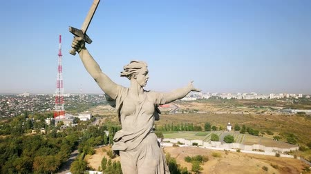 motherland : Sculpture The Motherland Calls! - compositional center of the monument-ensemble to the Heroes of the Battle of Stalingrad on Mamayev Kurgan. Early morning. Volgograd, Russia, From Dron, Point of interest