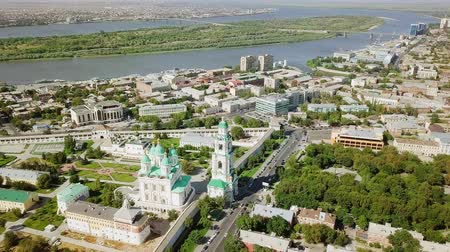 astrakhan : Russia, Astrakhan - September 12, 2017: Aerial view of the Astrakhan Kremlin, historical and architectural complex, From Dron, Point of interest