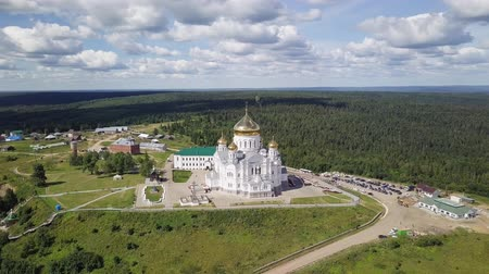 ural : Belogorsky St. Nicholas Orthodox-Missionary Monastery. Russia, Perm Territory, White Mountain, From Dron, Point of interest Stock Footage