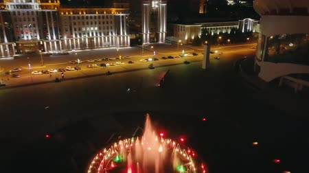 higher : Singing Fountain on Millennium Square at night and Ogarev Mordovia State University. The city of the 2018 World Cup in Russia, From Dron