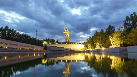 mamaev : Russia, Volgograd - August 28, 2017: Sunset. The night is coming. Sculpture Motherland Calls! - compositional center of monument-ensemble to Heroes of Battle of Stalingrad on Mamayev Kurgan