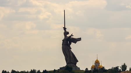 motherland : Russia, Volgograd - August 28, 2017: Sculpture Motherland Calls! - compositional center of monument-ensemble to Heroes of Battle of Stalingrad on Mamayev Kurgan