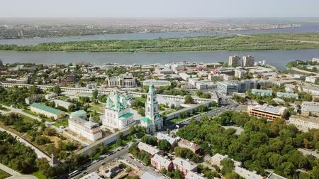 astrakhan : Aerial view of the Astrakhan Kremlin, historical and architectural complex. Russia, Astrakhan, From Dron, Point of interest