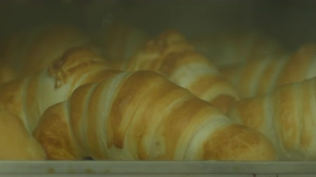 kruvasan : Time lapse traditional french croissants baking in oven.Closeup Stok Video