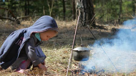 harcerz : A little girl throws wood on the campfire. Independence and diligence. Wideo