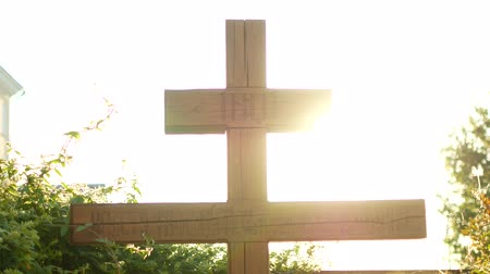 jesus born : Calvary cross of christ and sun rising sky.