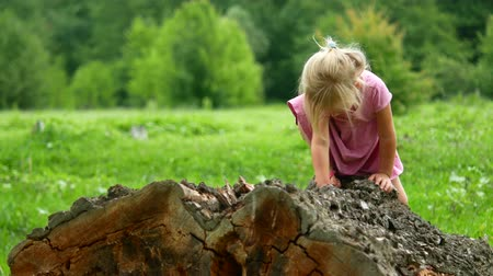balanceamento : 4K Child Playing Climbing Tree Outdoor in Park, Little Girl Portrait