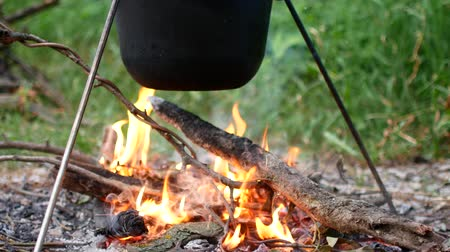 tűzifa : Boiling pot of water on fires outdoors. Stock mozgókép