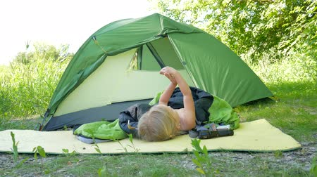 scout : child camping tent nature green