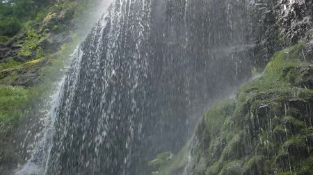 aqua park : Beautiful waterfall in the Carpathians. Shooting from the bottom. Stock Footage