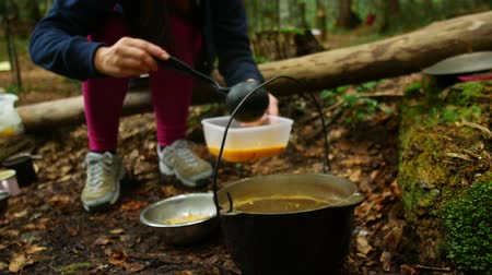 soup pans : cooking at the campsite, survival in nature. Stock Footage