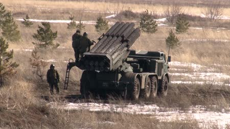 rocket launcher : Russian rocket launch system Uragan shoots