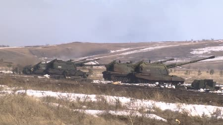 armoured : Shot of Russian army 2S19 Msta-S self-propelled howitzer