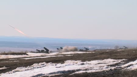 rocket launcher : Russian rocket launch system Grad shoots Stock Footage