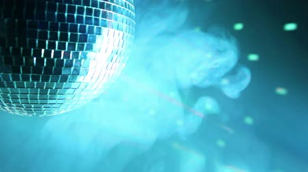 disko : Part of rotating disco ball with multicolor light effect and smoke, HD 1080p.