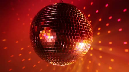 disko : Rotating disco ball with multicolor light effect and smoke, HD 1080p. Stok Video