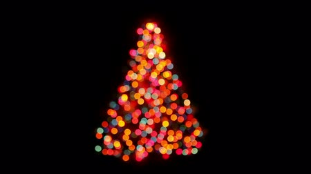 ünnepies : Abstract Christmas tree bokeh lights blinking on black background, HD 1080p, loop
