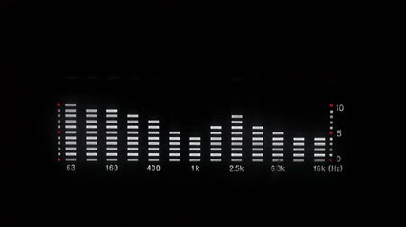 ekolayzer : Closeup view of playing equalizer graph on black background, HD 1080p