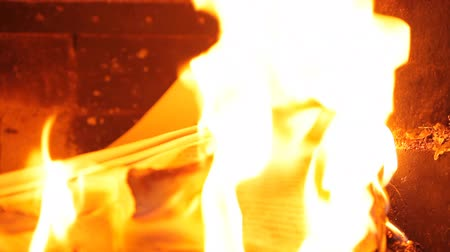 рукопись : Burning page in the fireplace. HD 1080p